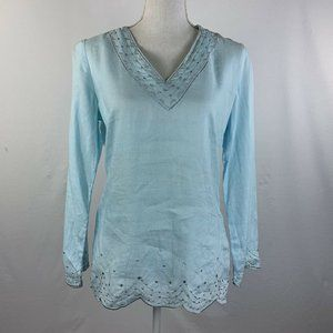 Lilly Pulitzer Tunic Top 100% Linen Beaded S